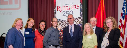 Pictured from Left to Right are Beatrice Birrer (Rutgers Energy Institute), Rachael Shwom (Department of Human Ecology); Marjorie Kaplan (Rutgers Climate Institute), Robert Kopp (Rutgers Energy Instiitute); Honorable Robert Inglis (George Mason University-RepublicEn); Judith Storch (Cook Campus Dean); Tony Broccoli (Rutges Climate Institute), Randi Chmielewski (Eagleton Institute of Politics).